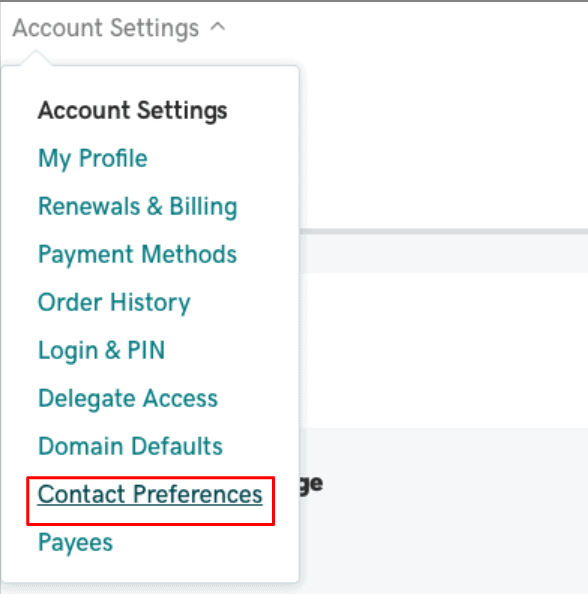 GoDaddy contact preferences