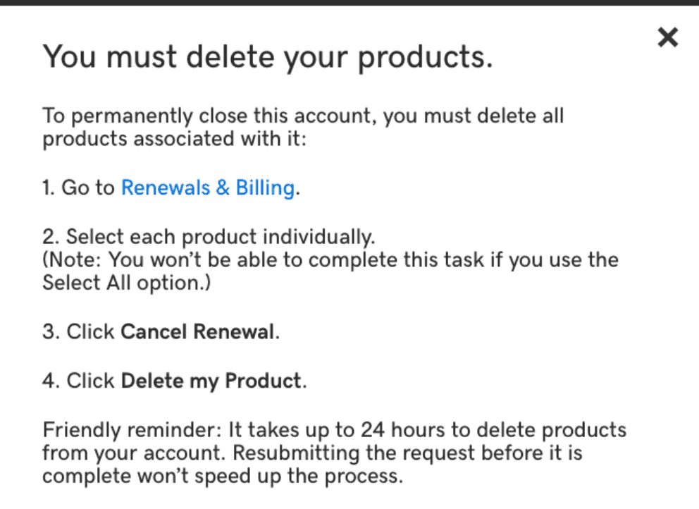 GoDaddy delete products reminder