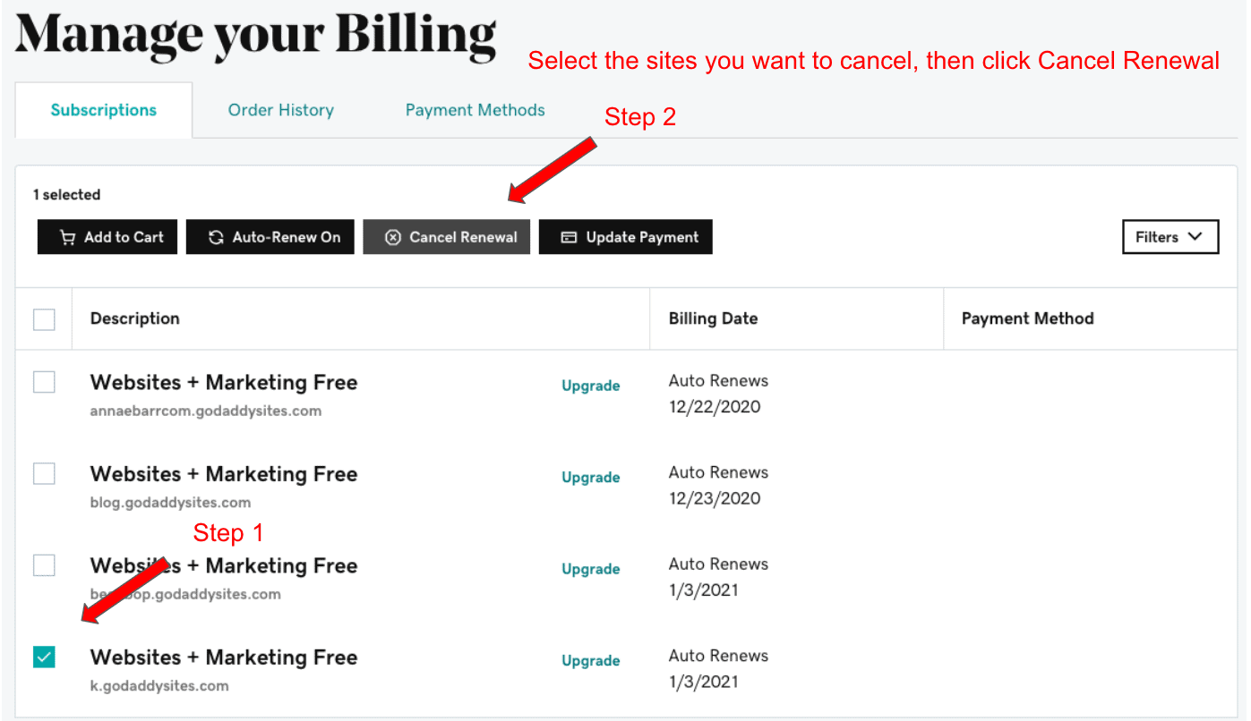 "GoDaddy ""Mange Your Billing"" page"