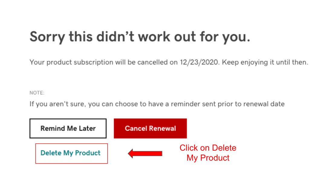 GoDaddy Cancel Renewal page