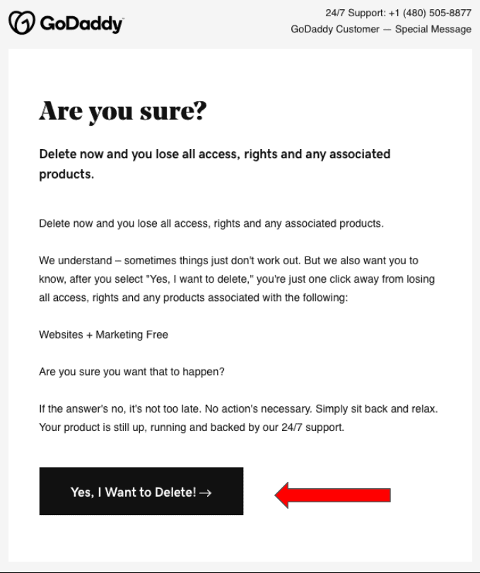 GoDaddy Product Deletion confirmation email