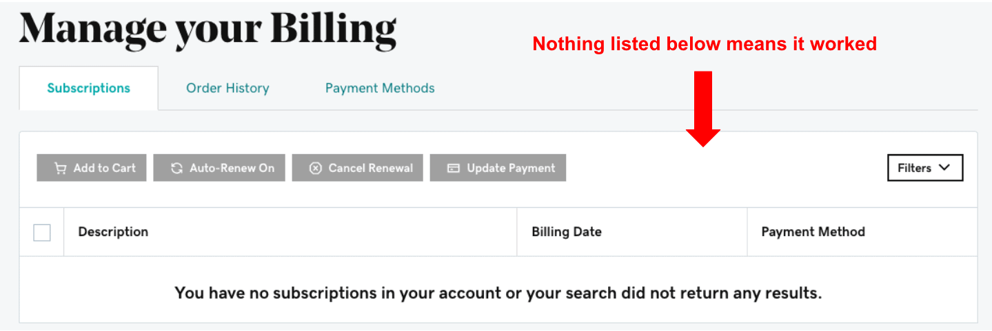 GoDaddy Manage Your Billing page