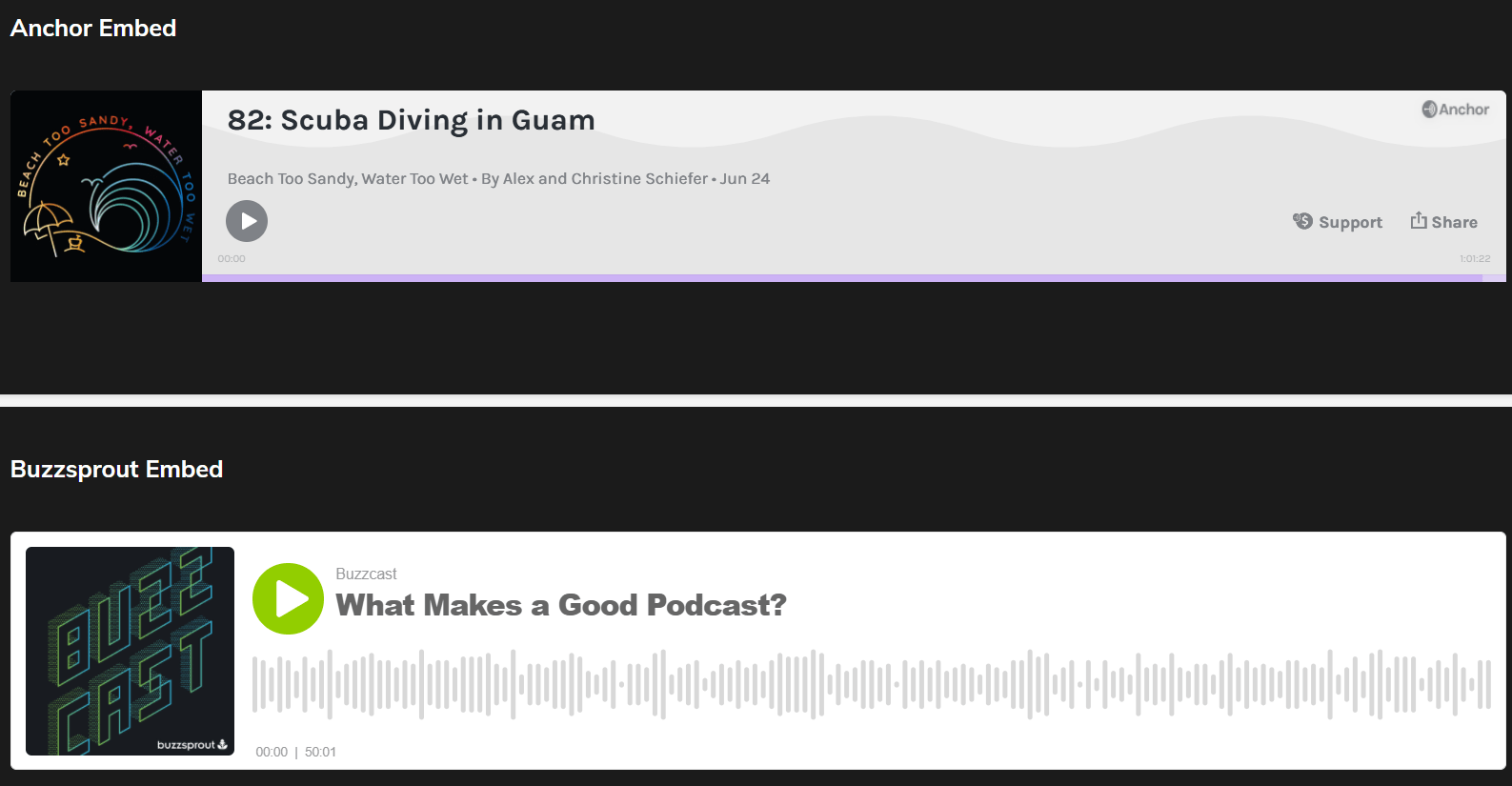 Embedded audio players in Podcastpage