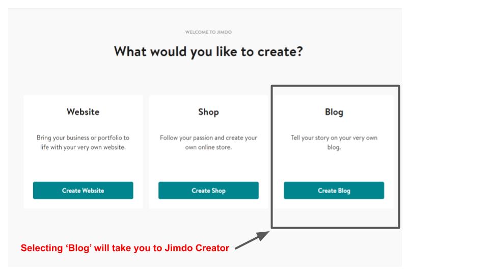 Jimdo sign up