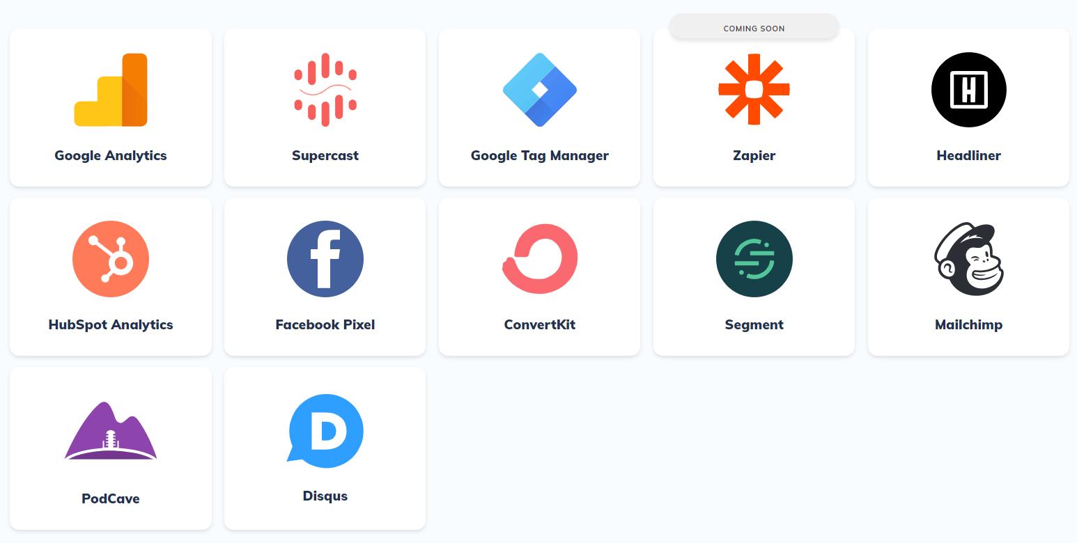 Podcastpage integrations