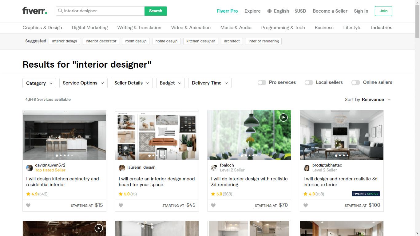 Fiverr screenshot - interior designers