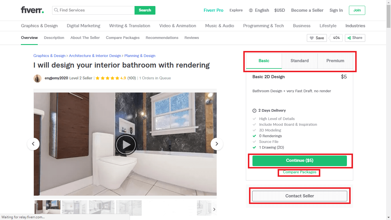 Fiverr screenshot - package tabs and Compare Packages