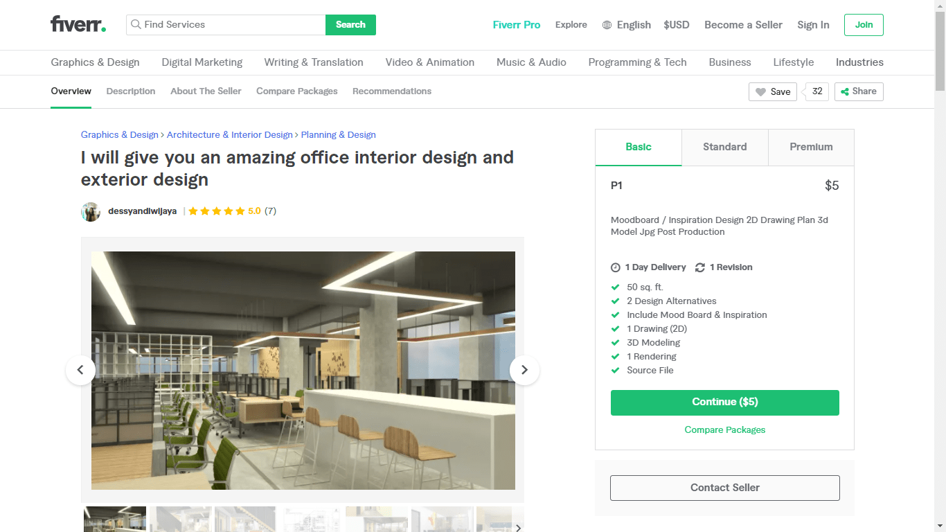 Fiverr screenshot - dessyandiwijaya office design gig