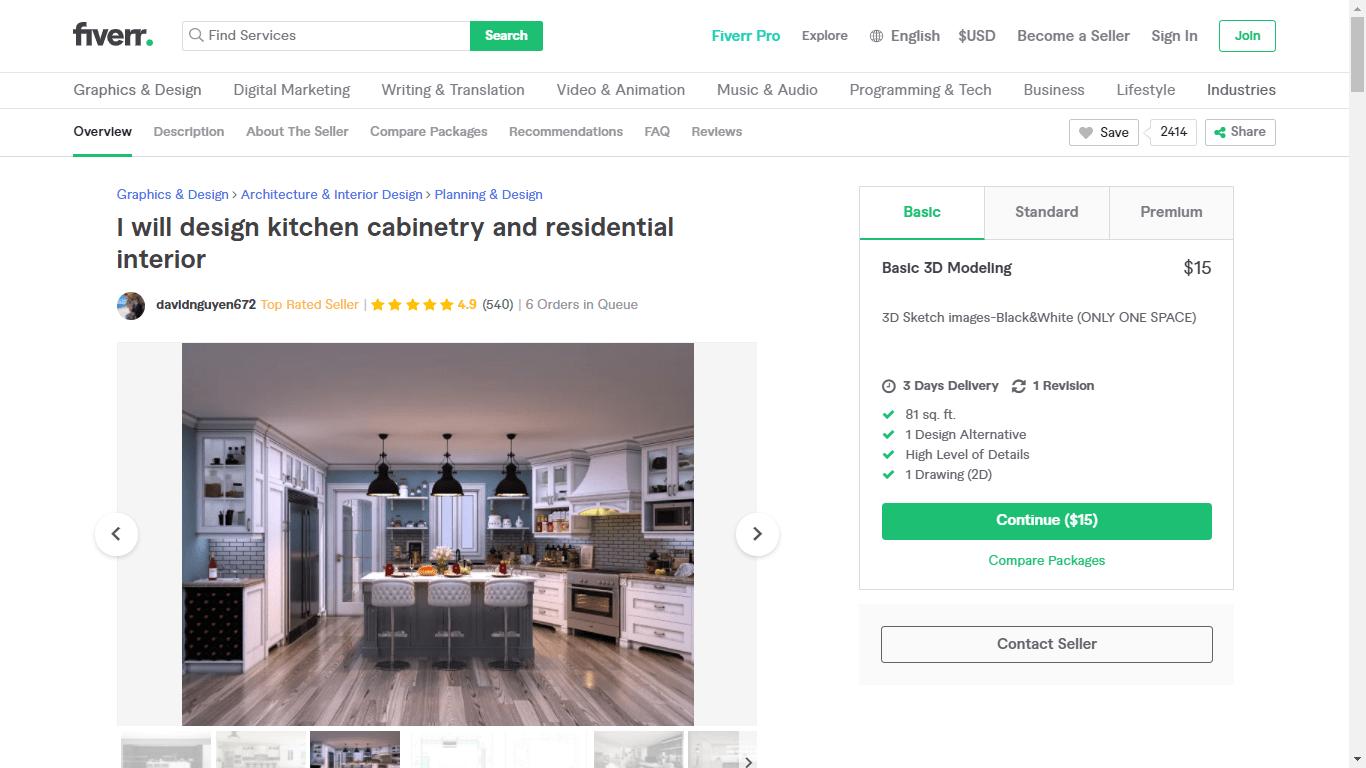 Fiverr screenshot - davidnguyen672 kitchen design gig
