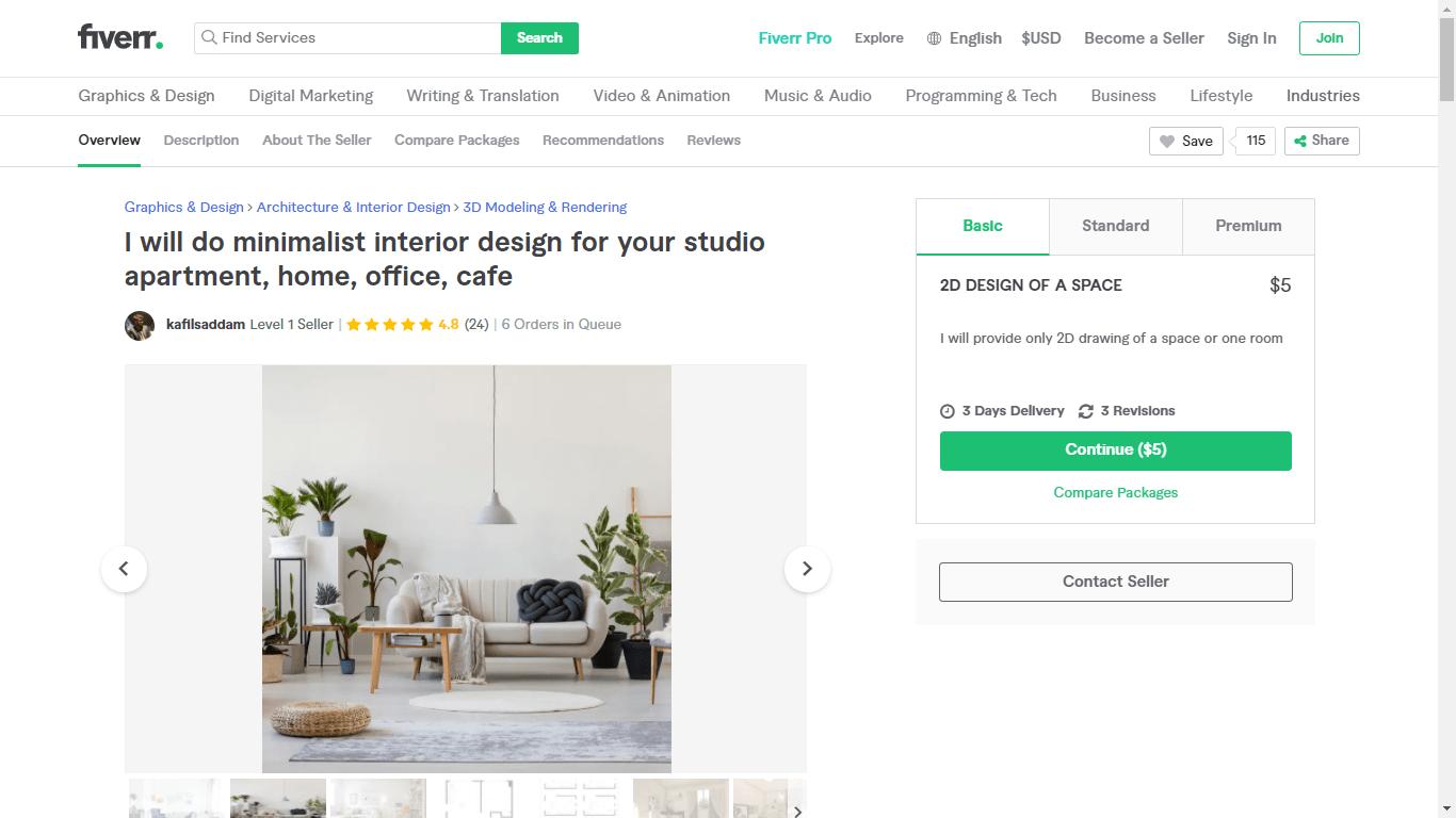 Fiverr screenshot - kafilsaddam minimalist design gig