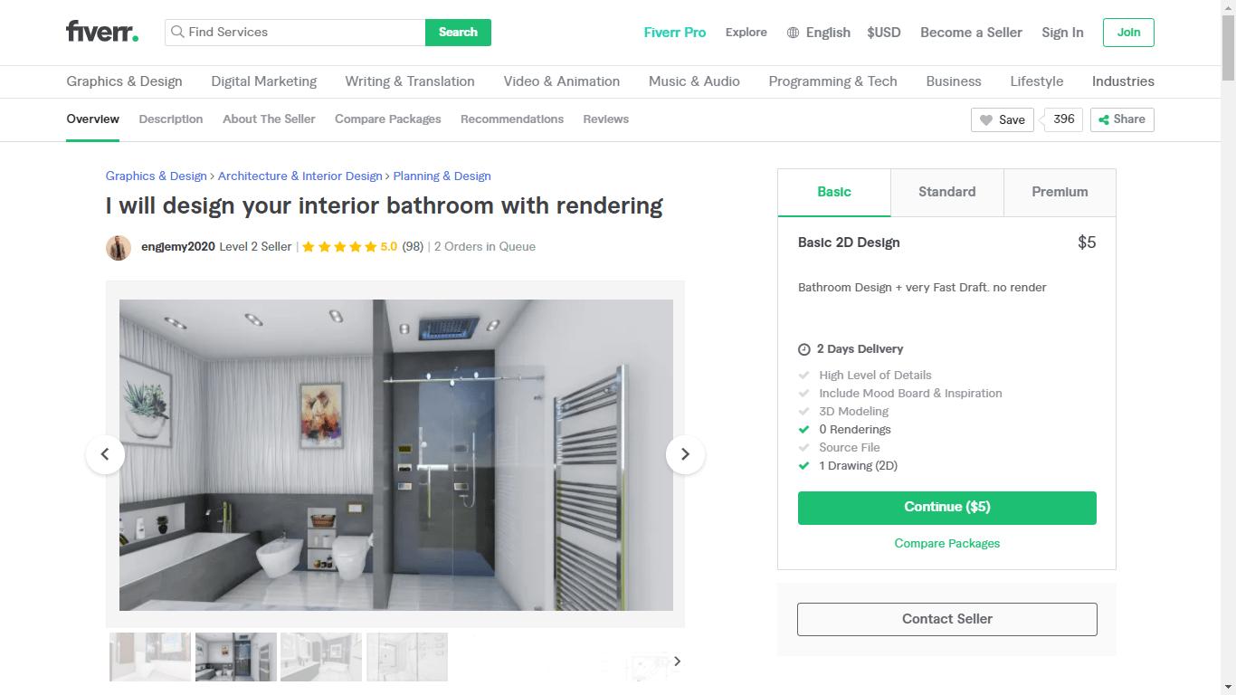 Fiverr screenshot - engjemy2020 bathroom design gig
