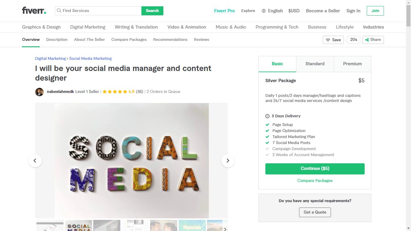 Fiverr screenshot - Nabeelahmedk Social Media Manager gig