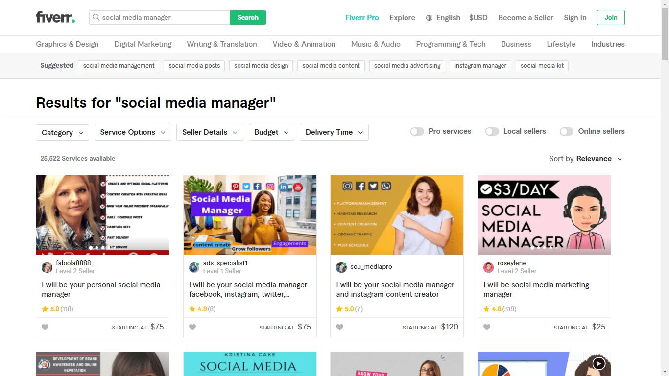 Fiverr screenshot - social media managers