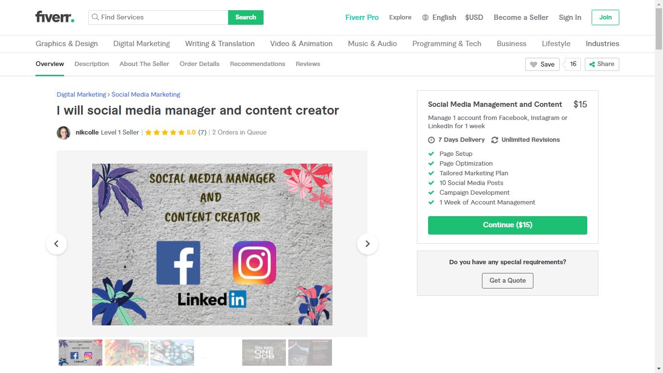 Fiverr screenshot - Nikcolle Social Media Manager gig