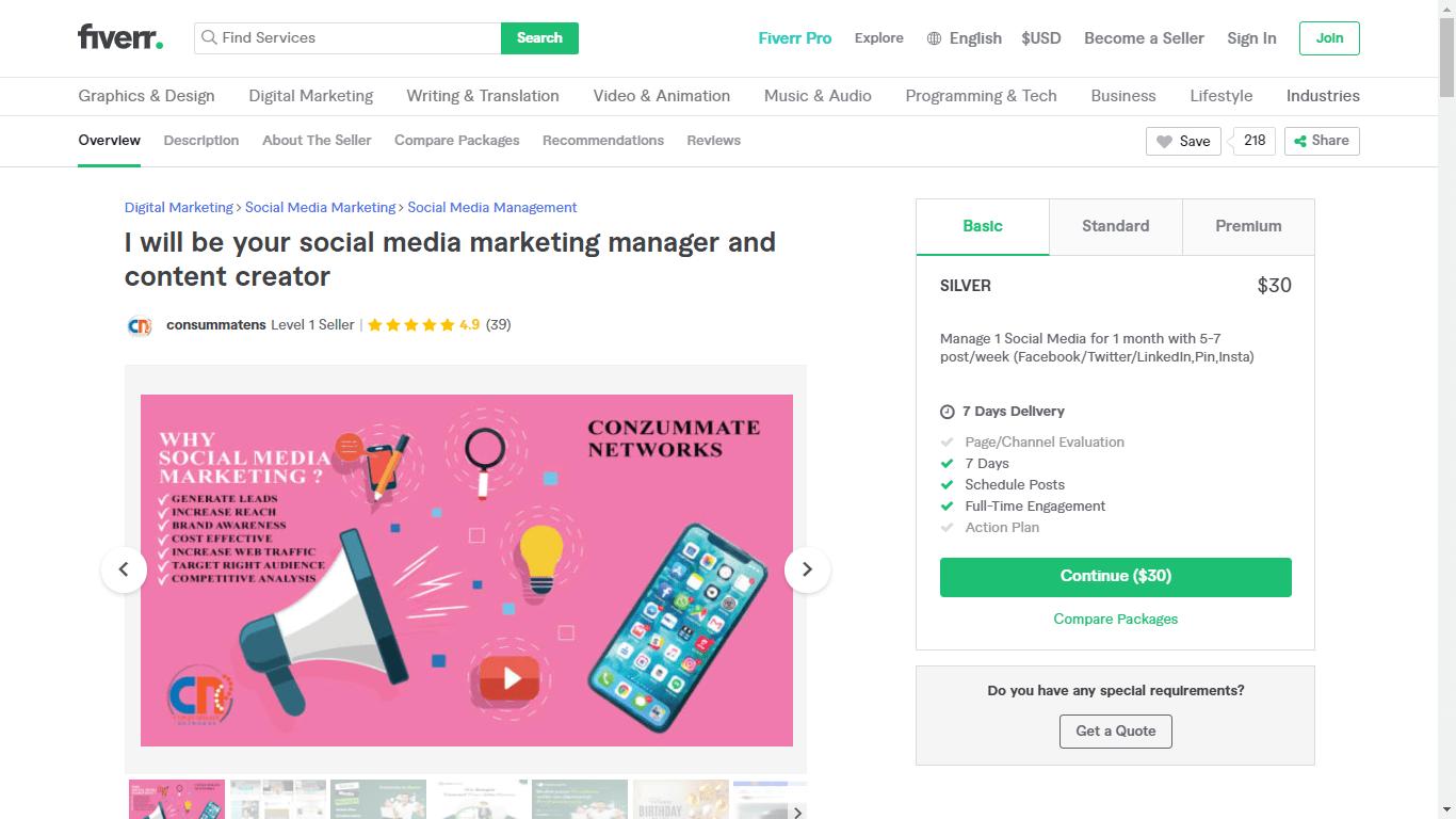 Fiverr screenshot - Consummatens Social Media Manager gig