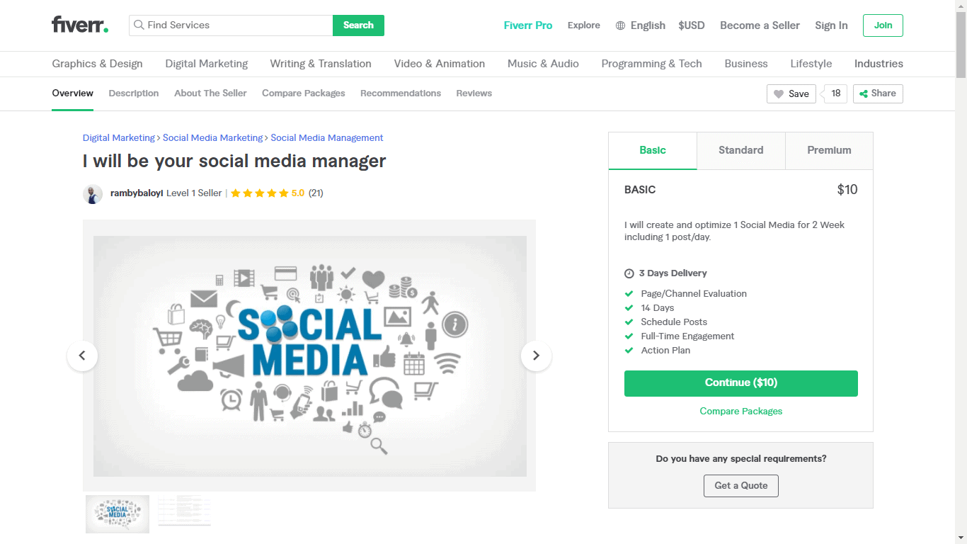 Fiverr screenshot - Rambybaloyi Social Media Manager gig