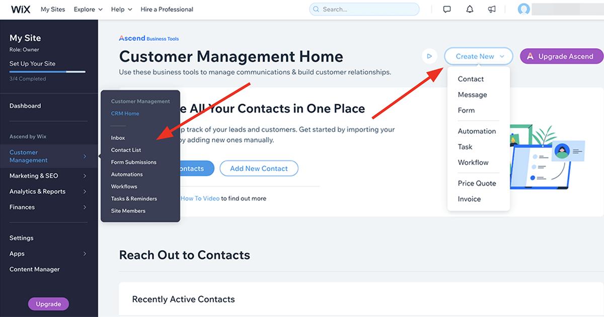 Wix customer management dashboard