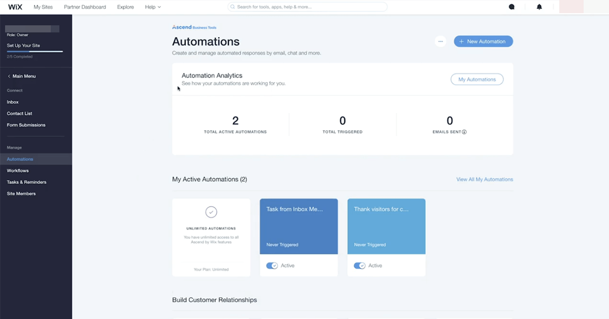 Wix Ascend automation analytics and reporting dashboard
