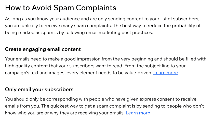 'How to Avoid Spam Complaints' guide in the Wix email Help Center