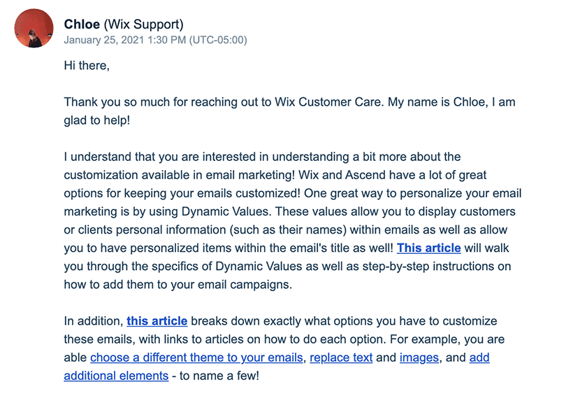 Wix Support response using the email ticket system