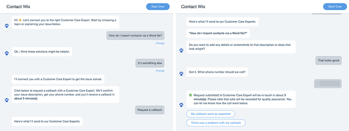 Wix support team callback request through the Wix Help Center