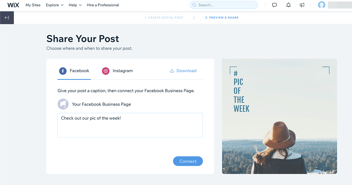 Design and create social posts with Wix Ascend