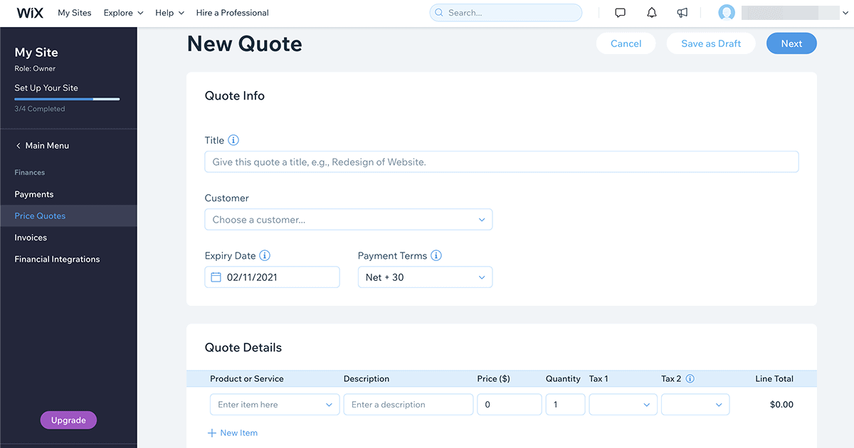 Send customer price quotes to customers using the Wix Ascend marketing suite
