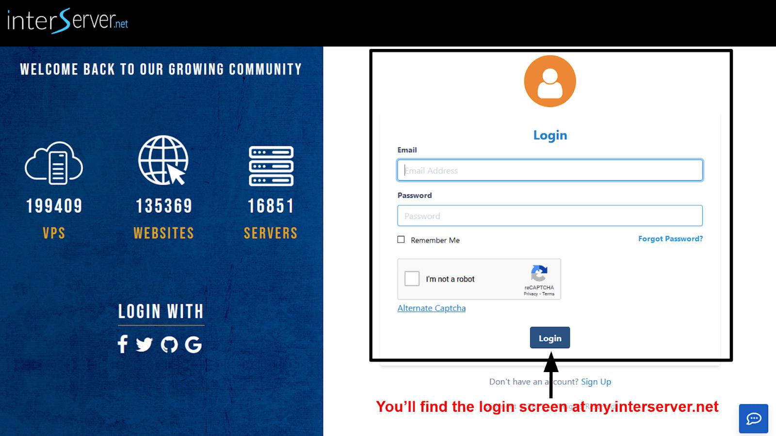 InterServer - login screen