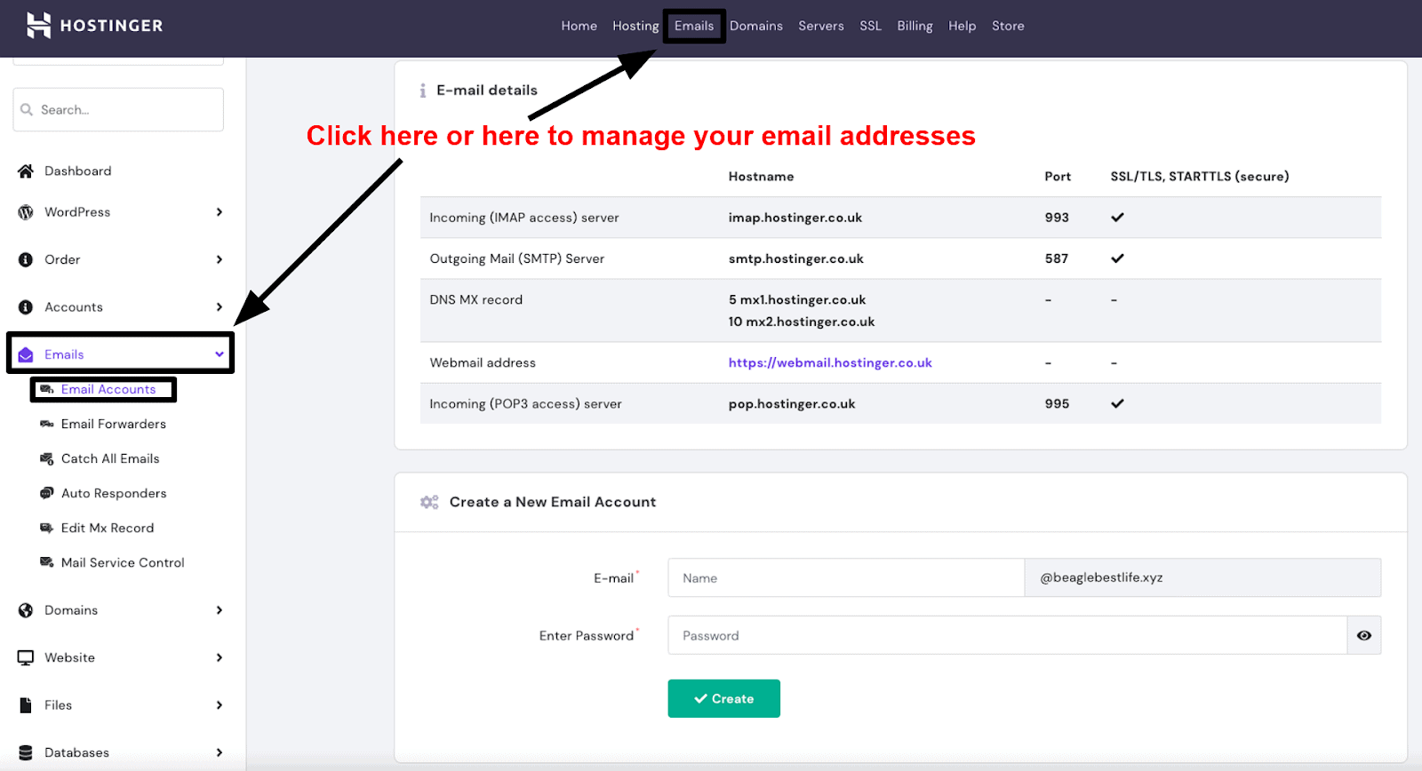 hPanel - emails page