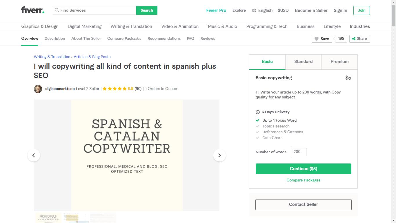Fiverr screenshot - digiseomarktseo spanish seo copywriter gig