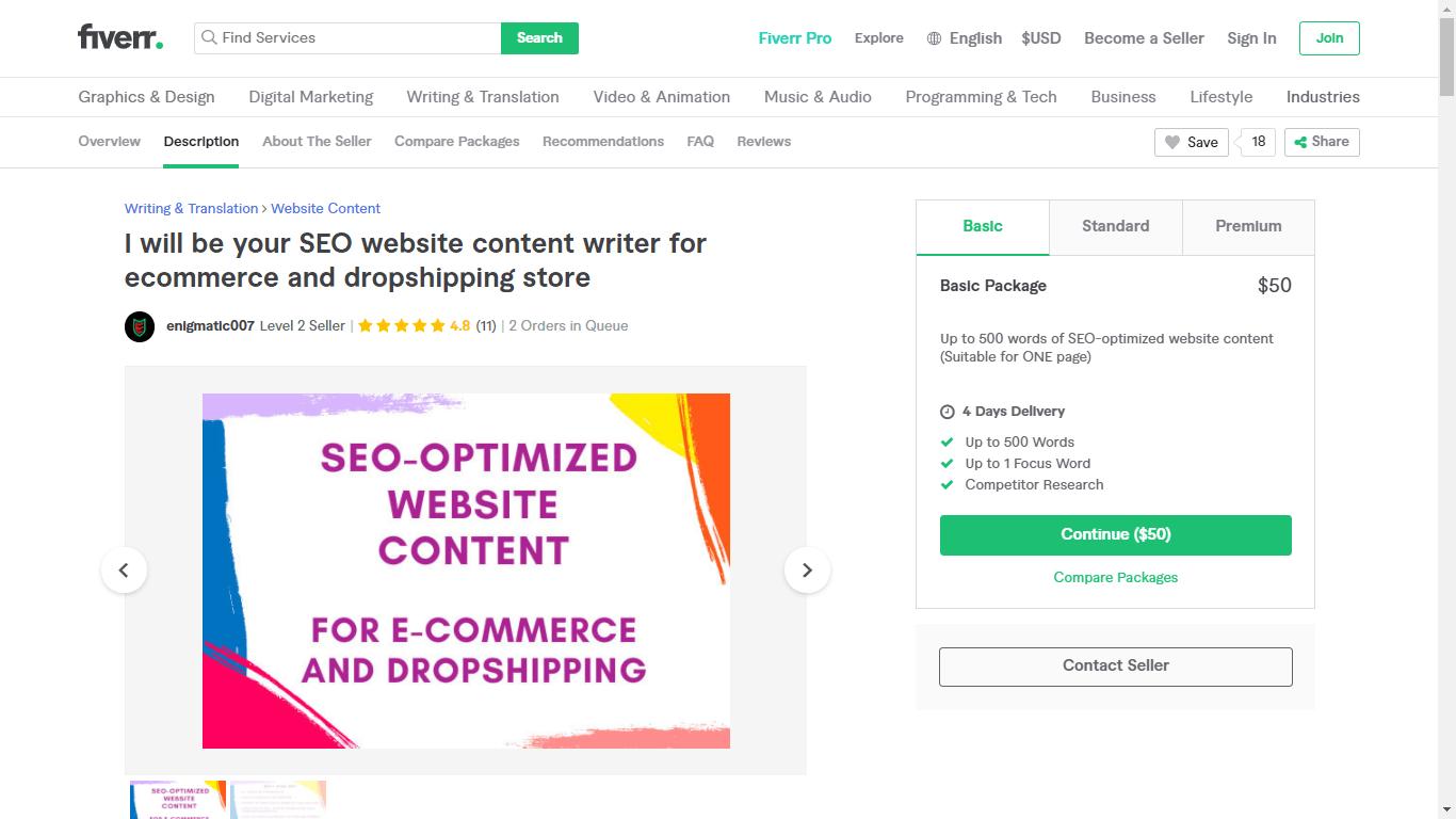 Fiverr screenshot - enigmatic007 eCommerce seo copywriter gig