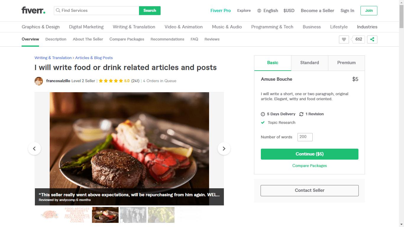 Fiverr screenshot - francosalzillo food seo copywriter gig