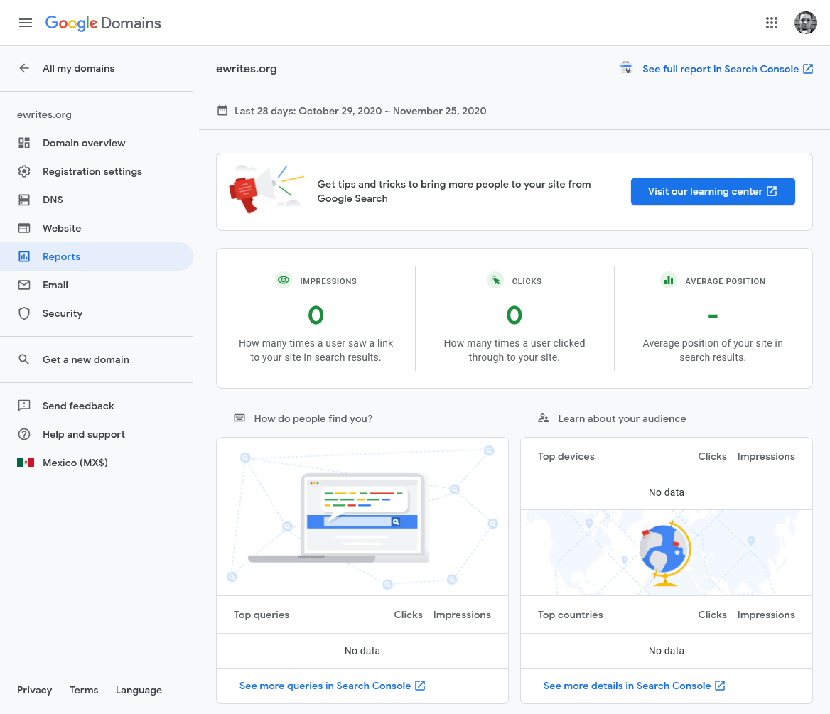 the Reports dashboard