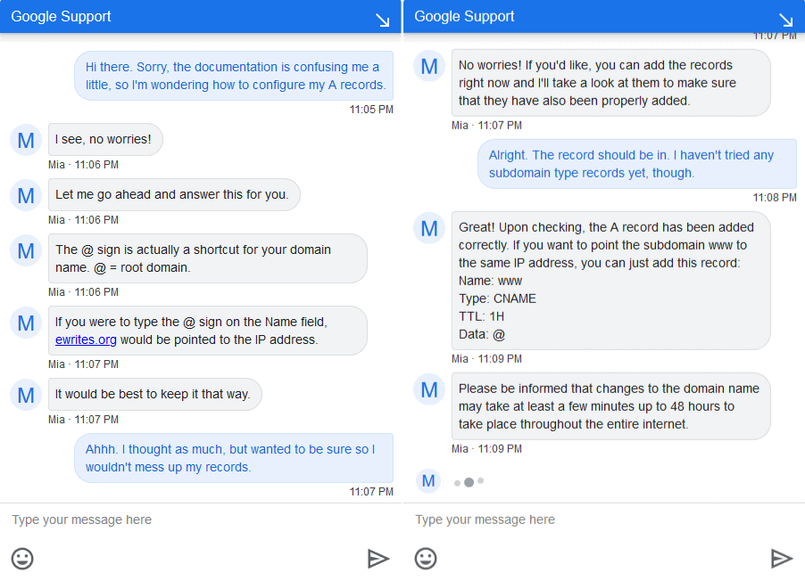 my chat with Google Domains support