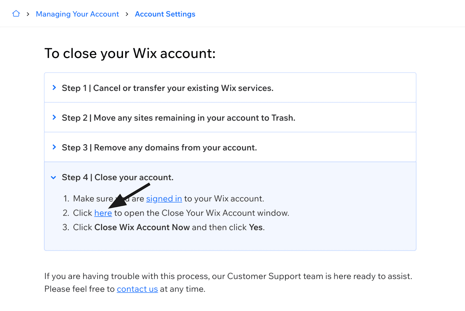 Wix - Close Your Wix Account window