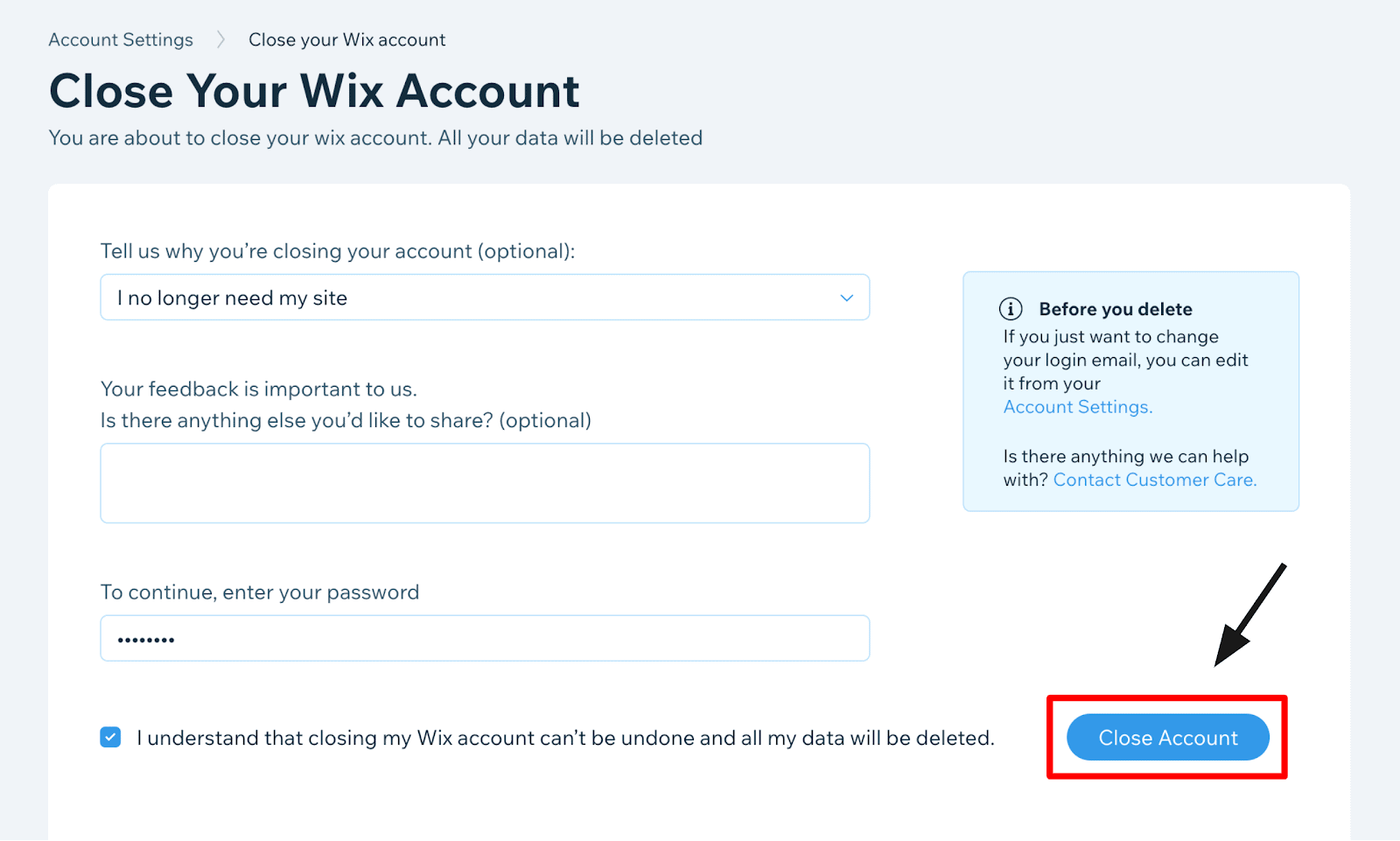 Wix - Close Account