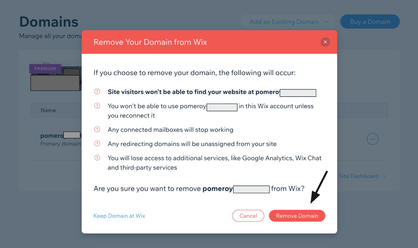 Wix - Remove Domain