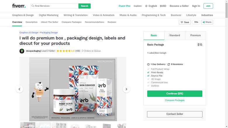 Fiverr screenshot - nicepackaging premium package designer gig
