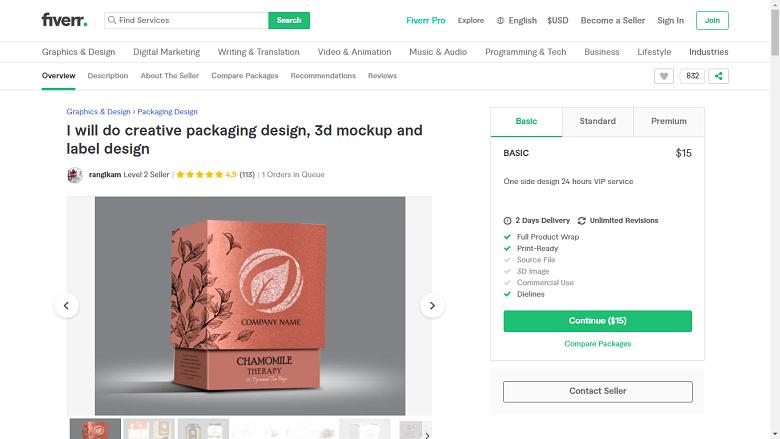 Fiverr screenshot - rangikam package designer gig