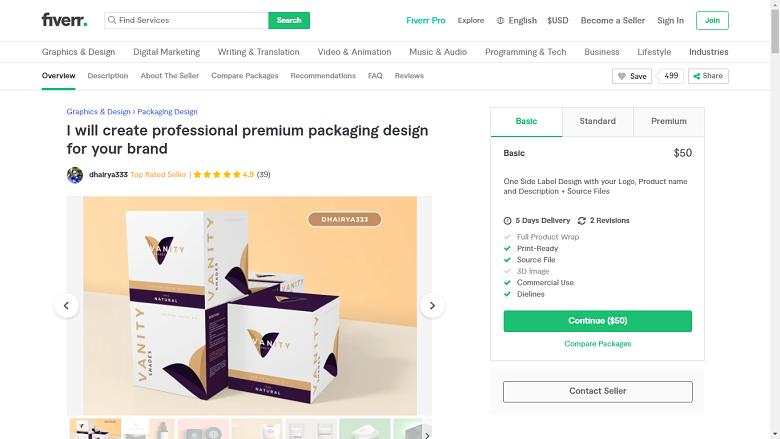Fiverr screenshot - dhairya333 package designer gig