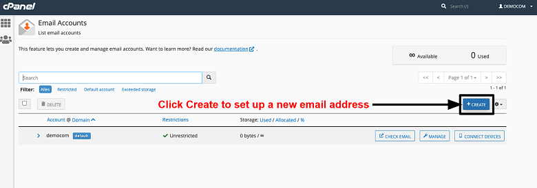cPanel - email accounts page