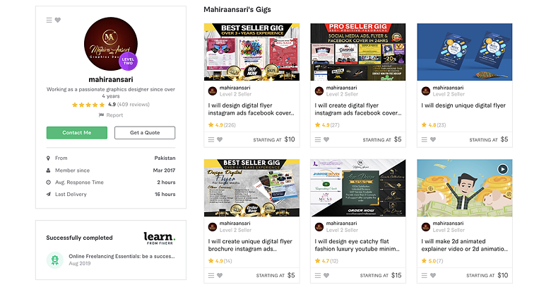mahiraansari – Fiverr profile