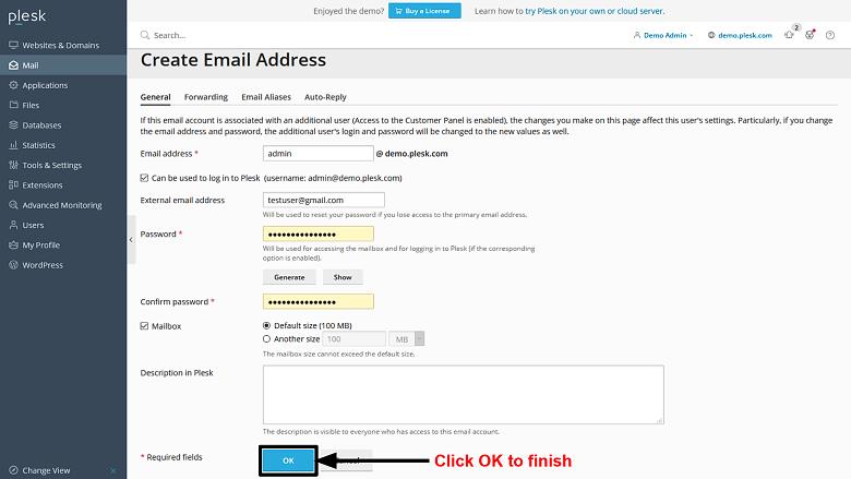 Plesk - create email address 3