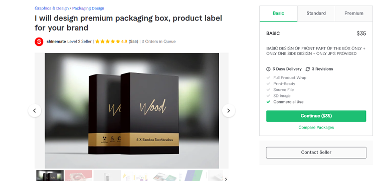 Fiverr screenshot - shinemate luxury package designer gig