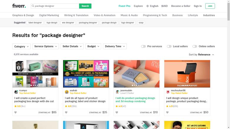 Fiverr screenshot - package designers