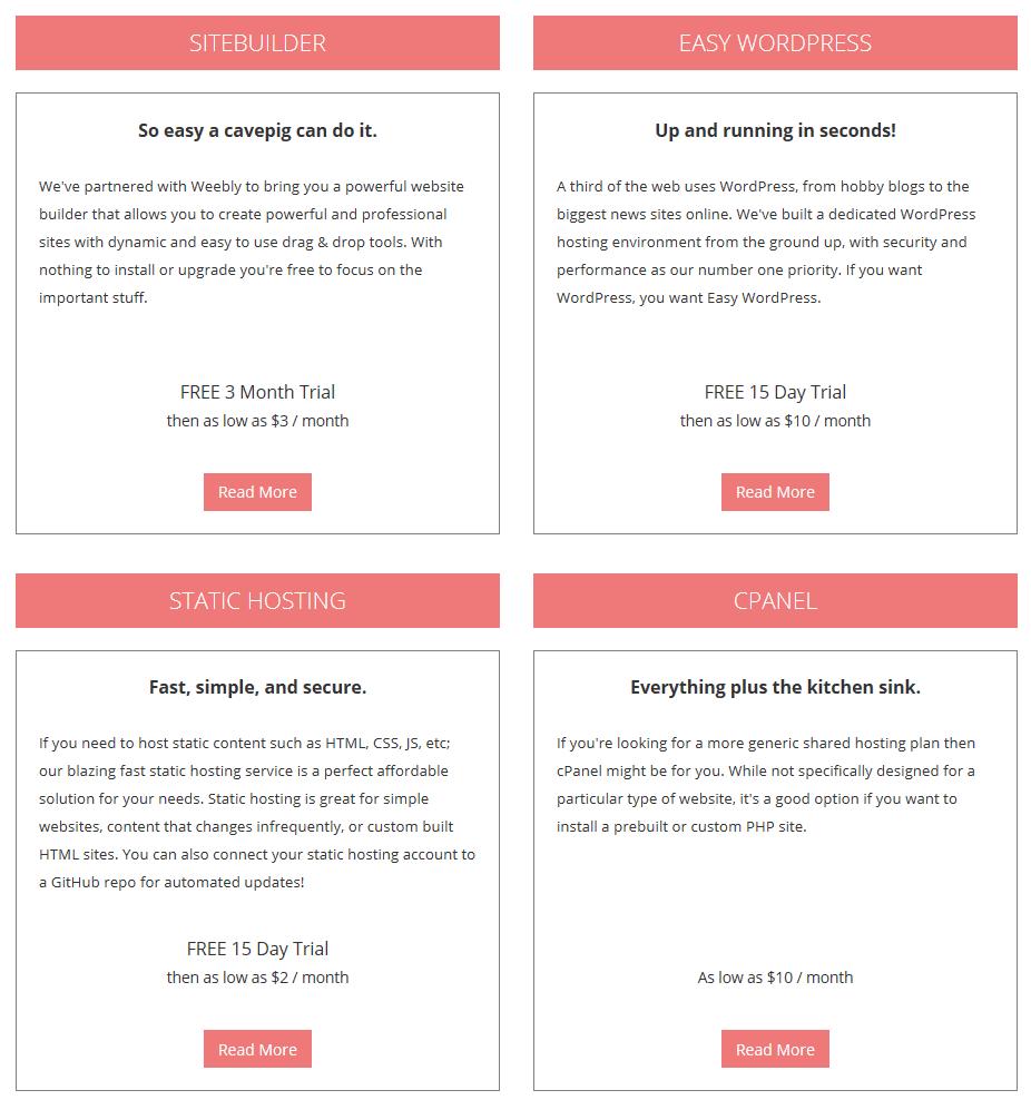 Porkbun's hosting plans