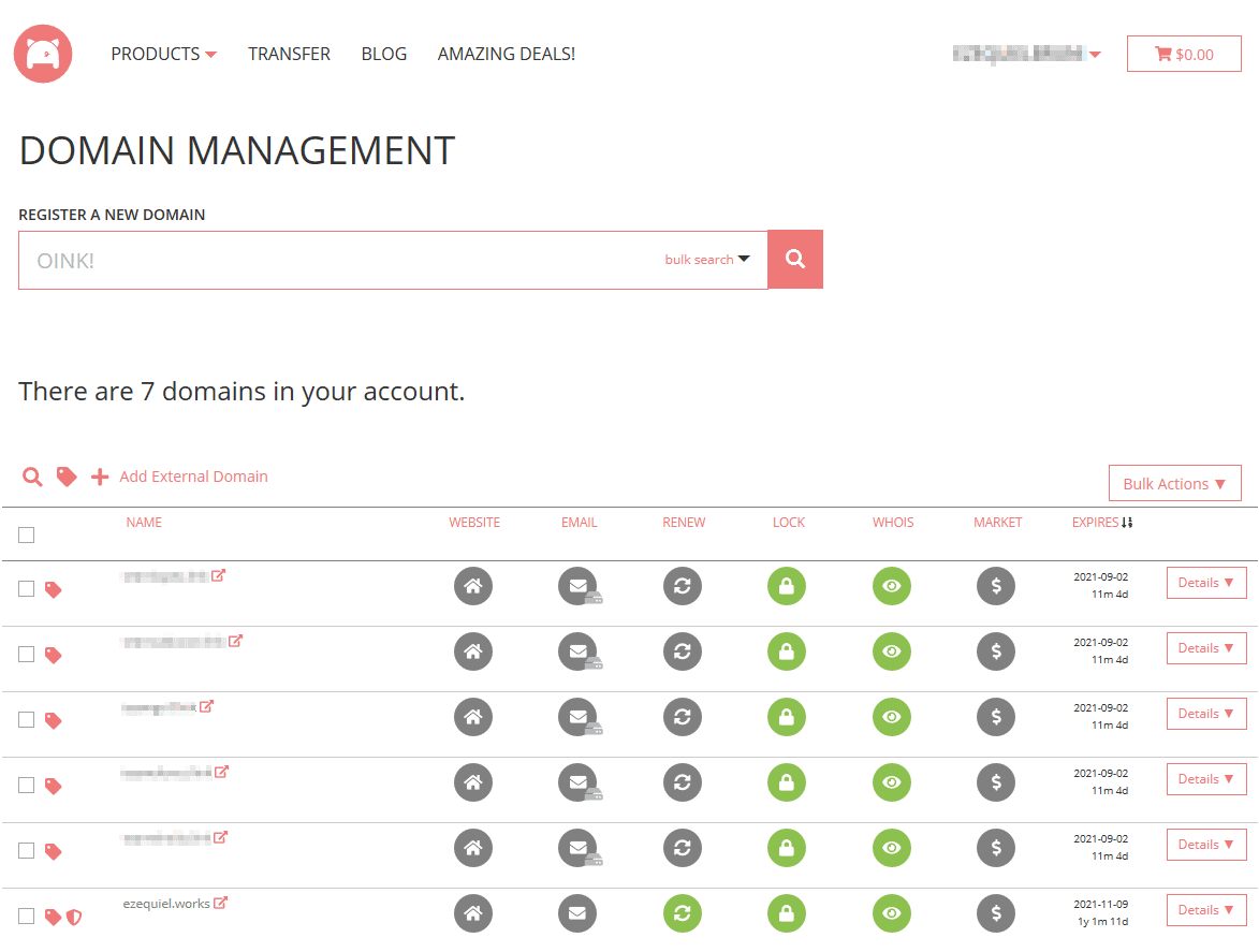 Porkbun domain management screen