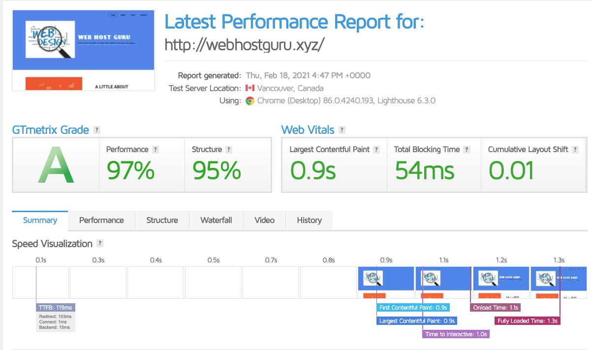 Porkbun performance via GTmetrix