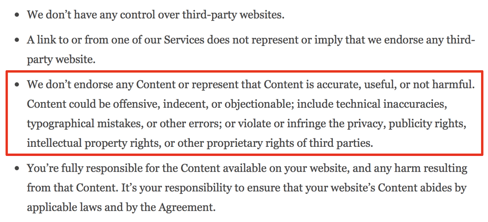 Screenshot from WordPress' Terms of Service.