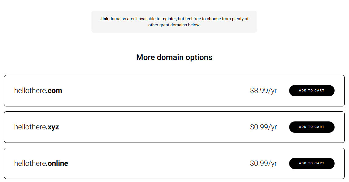 Zyro domain search results